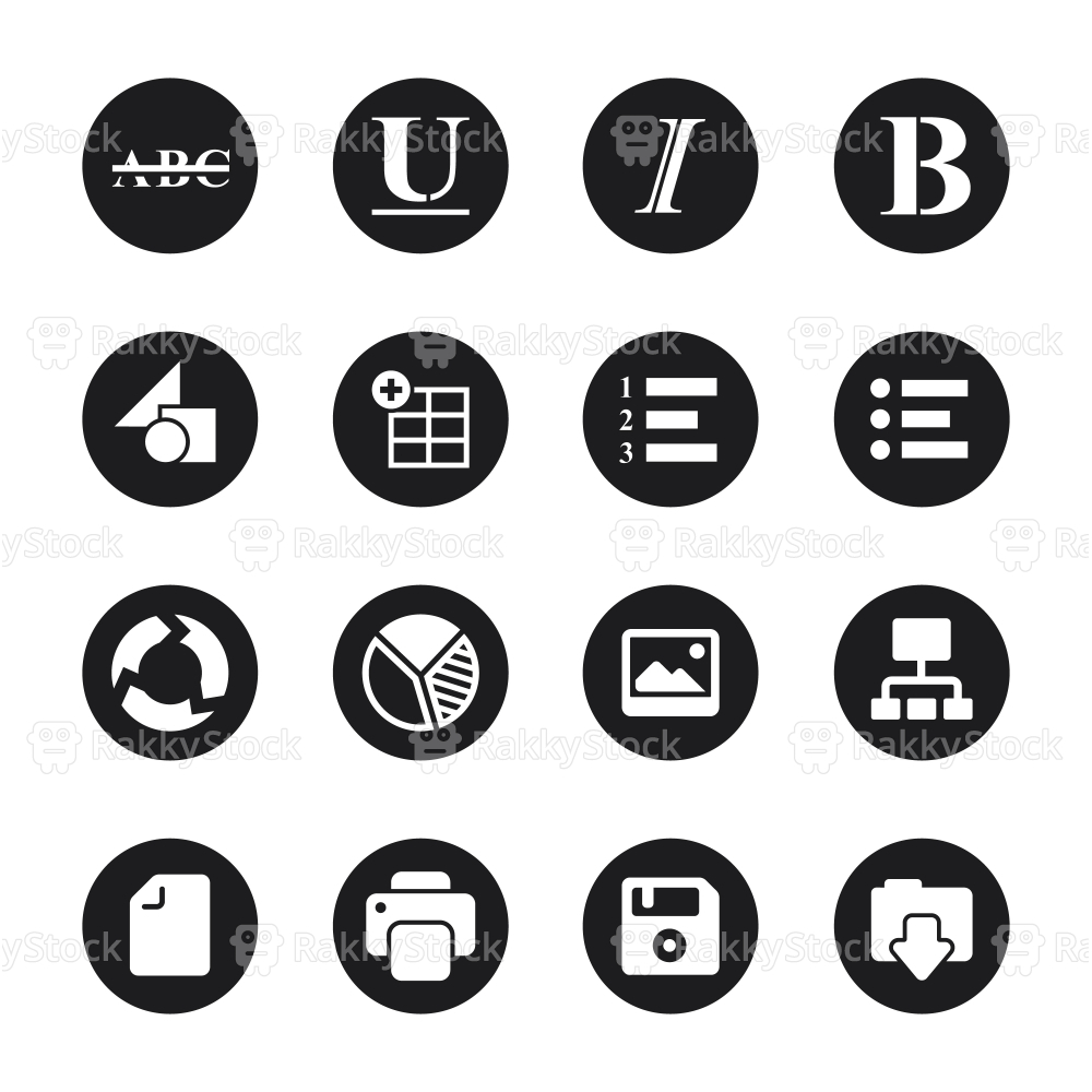 Document Editor Tool Icons - Black Circle Series