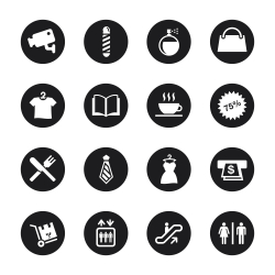 Shopping Mall Icons - Black Circle Series