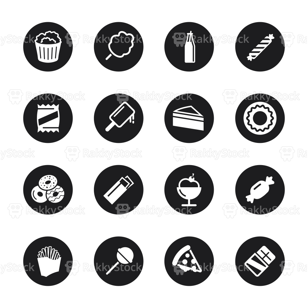 Junk Food Icons - Black Circle Series