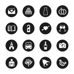 Wedding Icons - Black Circle Series