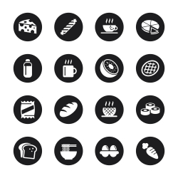 Eating Icons Set 2 - Black Circle Series