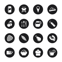 Eating Icons Set 3 - Black Circle Series