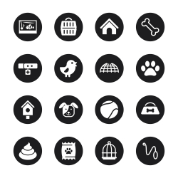 Pet Icons - Black Circle Series