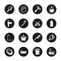 Personal Care Icons - Black Circle Series