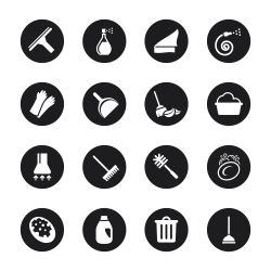 Cleaning Icons - Black Circle Series