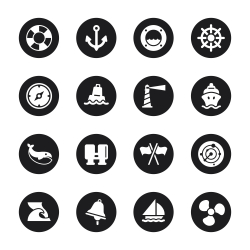 Nautical Icons - Black Circle Series