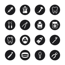 Dental Icons - Black Circle Series