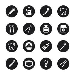 Dental Icons - Black Circle Series