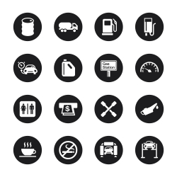 Gas Station Icons - Black Circle Series