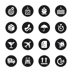 Logistics and Shipping Icons - Black Circle Series