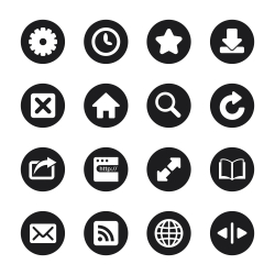Web Browser and Intenet Icons - Black Circle Series