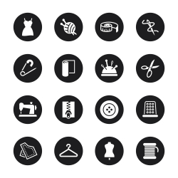 Sewing Icons - Black Circle Series