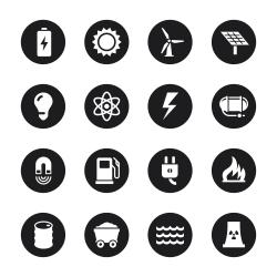 Energy Icons - Black Circle Series