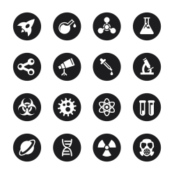 Science Icons - Black Circle Series