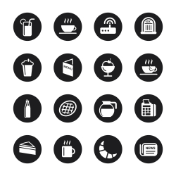 Cafe Icons - Black Circle Series