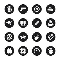 Army Icons - Black Circle Series