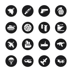 Military Icons - Black Circle Series