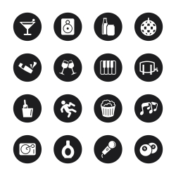 Pub and Bar Icons - Black Circle Series