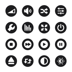 Media Player Icons - Black Circle Series