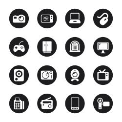 Electronics Icons - Black Circle Series