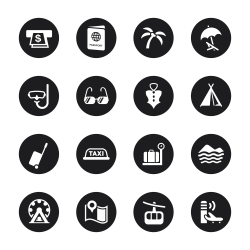 Travel and Vacation Icons Set 2 - Black Circle Series