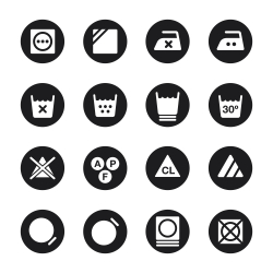 Laundry Sign Icons Set 3 - Black Circle Series