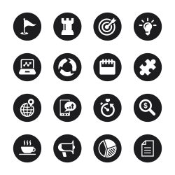 Business Strategy Icons - Black Circle Series