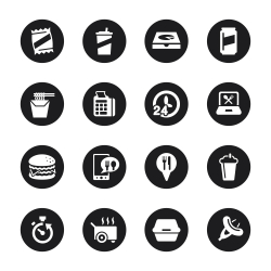 Take Out Food Icons - Black Circle Series