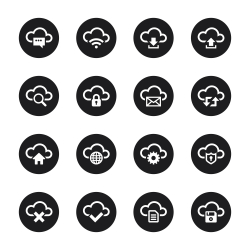 Cloud Computing Icons Set 1 - Black Circle Series
