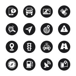 GPS Icons - Black Circle Series
