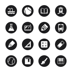 School Icons Set 2 - Black Circle Series