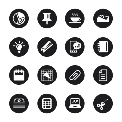 Office and Business Icons - Black Circle Series