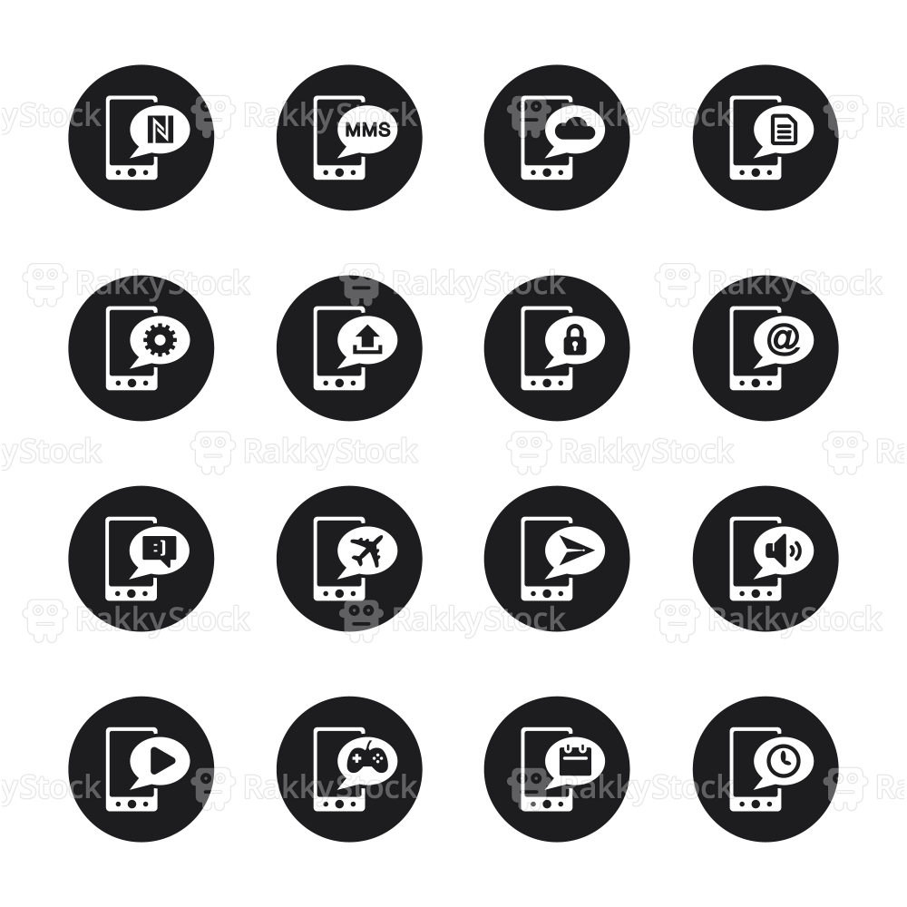 Mobile Phone Icons Set 2 - Black Circle Series