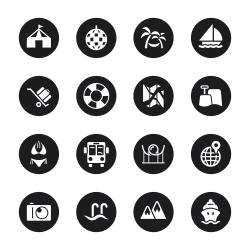 Travel and Vacation Icons Set 3 - Black Circle Series