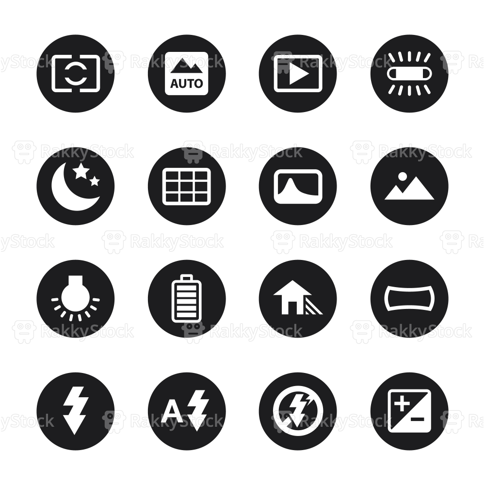 Camera Menu Icons Set 4 - Black Circle Series
