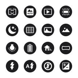 Camera Menu Icons Set 4 - Black Circle Series