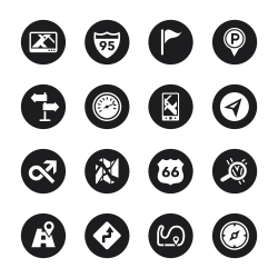 Navigation and Map Icons - Black Circle Series