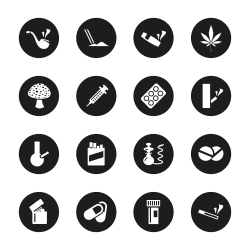Narcotics and Drugs Icons - Black Circle Series