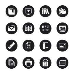 Print and Publishing Icons - Black Circle Series