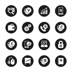 Finance and Trading Icons - Black Circle Series