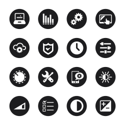 Settings Icons - Black Circle Series