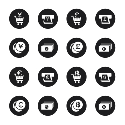 Currency Symbol Icons Set 3 - Black Circle Series
