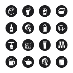 Drink Icons Set 3 - Black Circle Series