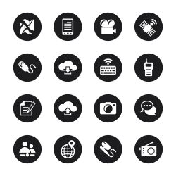 Communication Icons Set 4 - Black Circle Series