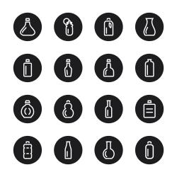 Bottle Icons Set 1 - Black Circle Series