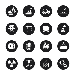 Heavy Industry Icons Black Circle Series