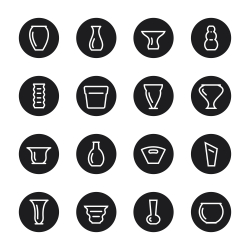 Vase and Pot Icons Set 1 - Black Circle Series