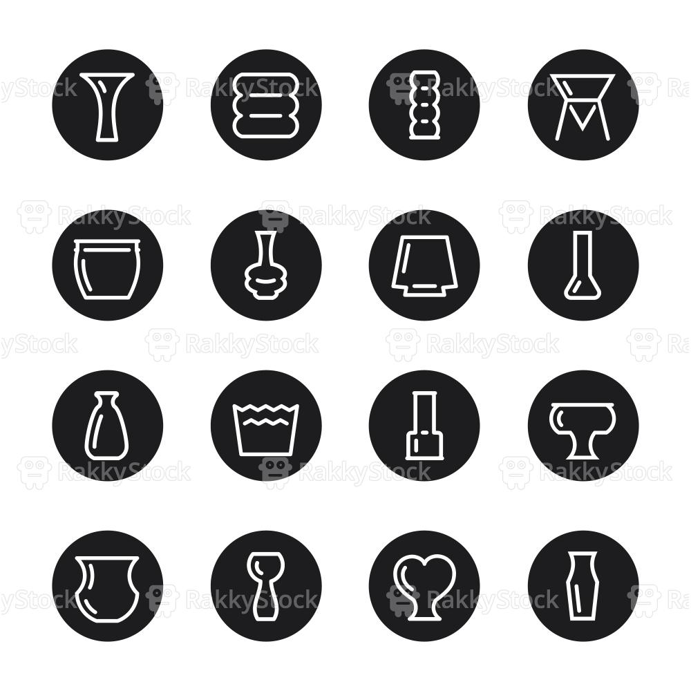 Vase and Pot Icons Set 2 - Black Circle Series
