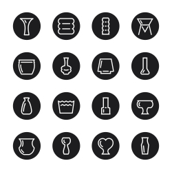 Vase and Pot Icons Set 2 - Black Circle Series