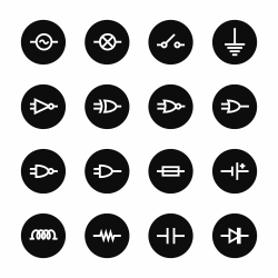 Electronic Circuit Icons - Black Circle Series
